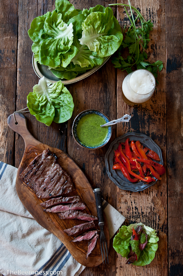 Porter-Marinated-Flank-Steak-Lettuce-Wraps-with-IPA-Chimichuri_