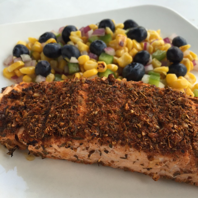 Southwest Grilled Salmon with Blueberry Corn Salsa